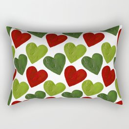 Scattered Hearts - Green and Red Rectangular Pillow