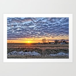 Iowa Farm Sunset Art Print