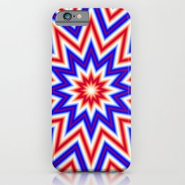 Red White and Blue Psychedelic Mandala Star Pattern iPhone Case