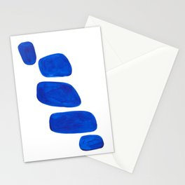 Mid Century Vintage Abstract Minimalist Colorful Pop Art Indigenous Phthalo Blue Pebbles Stacked Stationery Cards