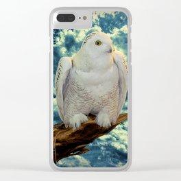 Snowy Owl against Aqua Sky Country Decor A147 Clear iPhone Case