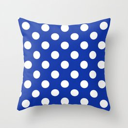 Egyptian blue - White Polka Dots - Pois Pattern Throw Pillow