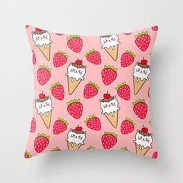 Cute funny sweet adorable little baby kitten ice cream cones with sprinkles and red ripe summer strawberries cartoon light pastel pattern design Throw Pillow