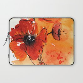 Red Poppy Flowers Watercolor Painting Laptop Sleeve