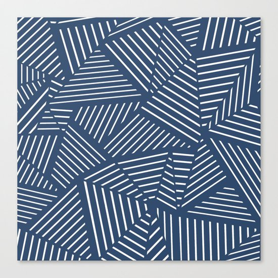 Abstraction Linear Zoom Navy Canvas Print