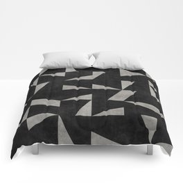 Mid-Century Modern Pattern No.12 - Black and Gray Concrete Comforters