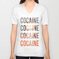 cocaine V-neck T-shirts featuring LINDSAY LOHAN - COCAINE by Beauty Killer Art