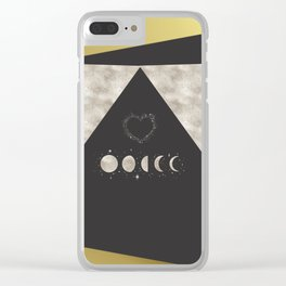 Silver Moon Phases Abstract Geometric Art Clear iPhone Case
