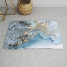 Gold and Blue Marble Rug