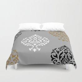 Orna Damask Art I BW Grays Gold Duvet Cover