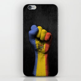 Moldovan Flag on a Raised Clenched Fist iPhone Skin