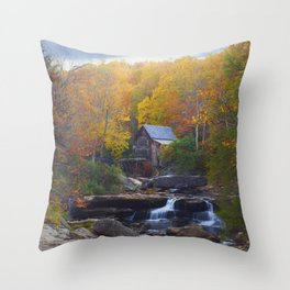 Glade Creek Mill in Autumn Throw Pillow