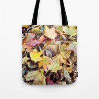 blanket Tote Bags featuring autumn blanket by Bonnie Jakobsen-Martin
