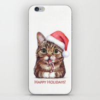 lil bub iPhone & iPod Skins featuring Lil Bub in Santa Hat with Candy Cane - Happy Holidays by Olechka