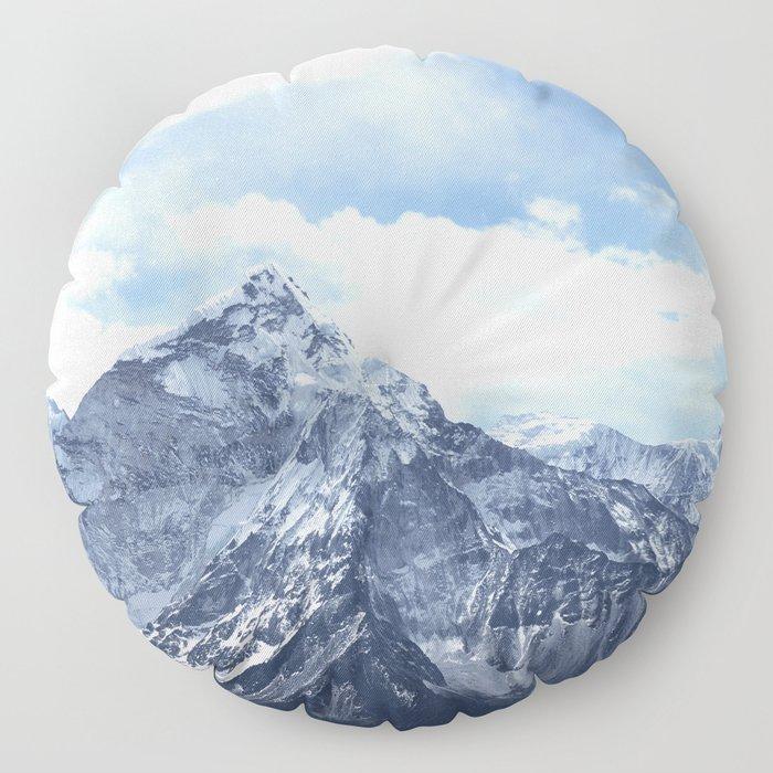 Snowy Mountain Peaks Floor Pillow