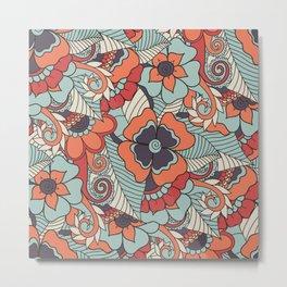 Colorful Vintage Floral Pattern Metal Print