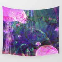 siren Wall Tapestries featuring The siren and dolphin by shiva camille