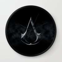 assassins creed Wall Clocks featuring Assassins Creed Dark Stone  by alifart