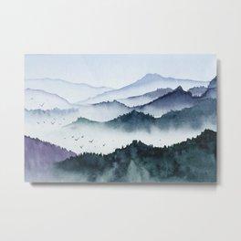 Mountains, birds and fog Metal Print
