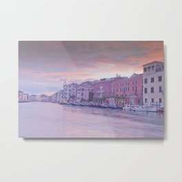 Venice in pastel, pink soft fluffy clouds over Venice, Italy Metal Print