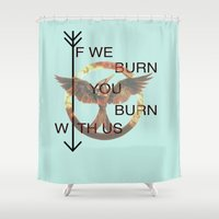 mockingjay Shower Curtains featuring Mockingjay Part 1 by DeBUM