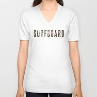surfboard V-neck T-shirts featuring floral surfboard by fieldguided