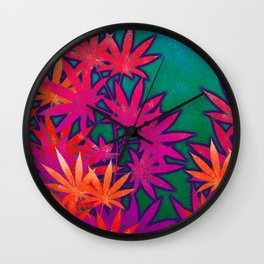 Turquoise Cannabis Field Wall Clock