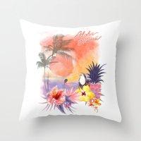aloha Throw Pillows featuring aloha by ulas okuyucu