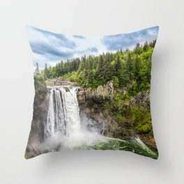 Snoqualmie Falls and Lodge in Summer Throw Pillow
