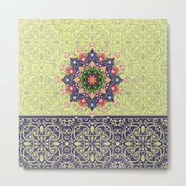 yellow mandala pattern Metal Print