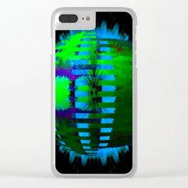 Green Layered Star in Aqua Flames Clear iPhone Case