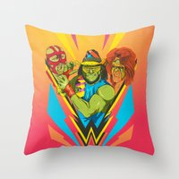 wrestling Throw Pillows featuring Classic Wrestling by RJ Artworks