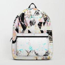 Rustic White and Black Boho Wood Grain Backpack