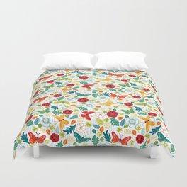 Butterly Garden on White Duvet Cover