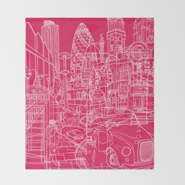 London! Hot Pink Throw Blanket