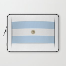 Flag of Argentina. The slit in the paper with shadows. Laptop Sleeve