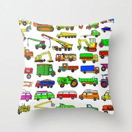 Doodle Trucks Vans and Vehicles Throw Pillow