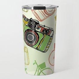 Vintage film camera and bicycles, seamless pattern pastel colors Travel Mug