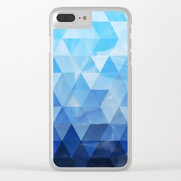 Soft blue gradient triangles Clear iPhone Case
