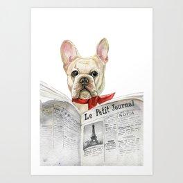 French bulldog with newspaper, bonjour Art Print