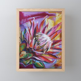 The King Protea - hot pink and yellow ochre Framed Mini Art Print