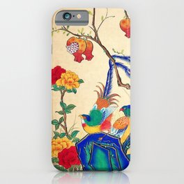 Minhwa: Birds and Peony (Korean traditional/folk art) iPhone Case