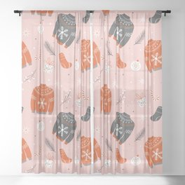 Christmas sweater pattern pink Sheer Curtain