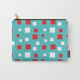 Red and White Squares on Blue Carry-All Pouch
