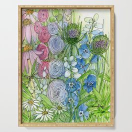 Rainbow Garden Watercolor Ink Painting Serving Tray