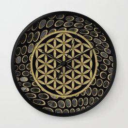 Flower Of Life (Golden Dots) Wall Clock