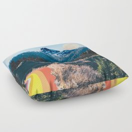 1960's Style Mountain Collage Floor Pillow