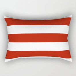 Tomato sauce - solid color - white stripes pattern Rectangular Pillow