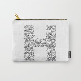 Floral Type - Letter H Carry-All Pouch