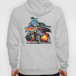 Classic hotrod 57 gasser drag racing muscle car cartoon Hoody